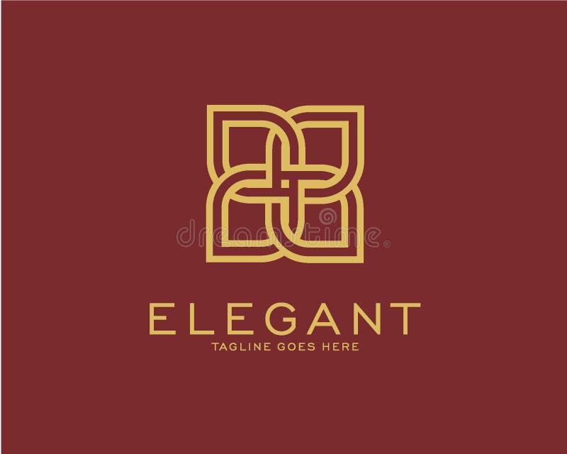 Conceito de projeto luxuoso do logotipo, de lótus da flor logotipo, beleza ou molde do logotipo dos termas ilustração stock