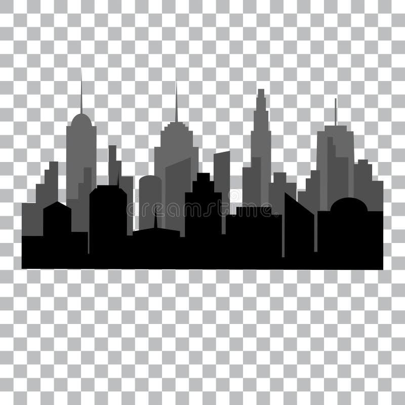 Conceito de projeto monocromático da arquitetura da cidade lisa ilustração do vetor