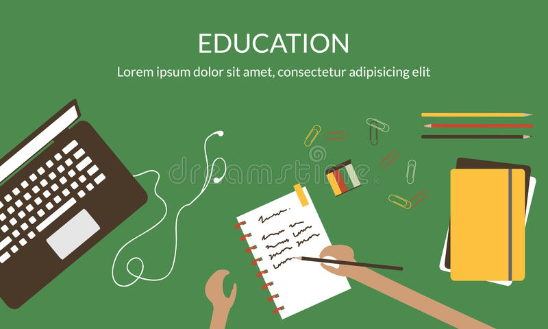 Conceito de projeto para o estudo, a aprendizagem, a distância e a educação em linha ilustração stock