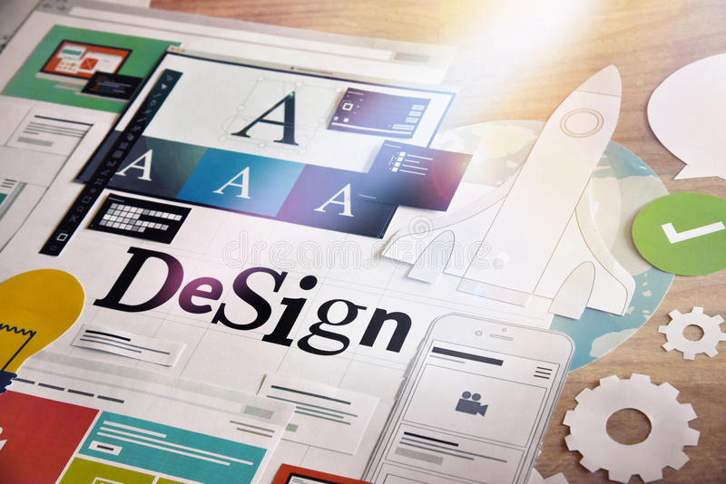 Conceito de projeto para serviços dos designer gráficos e das agências do projeto imagens de stock