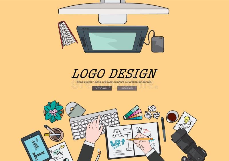 Conceito de projeto profissional de tiragem do logotipo da ilustração lisa do projeto Conceitos para bandeiras e materiais promoc ilustração do vetor