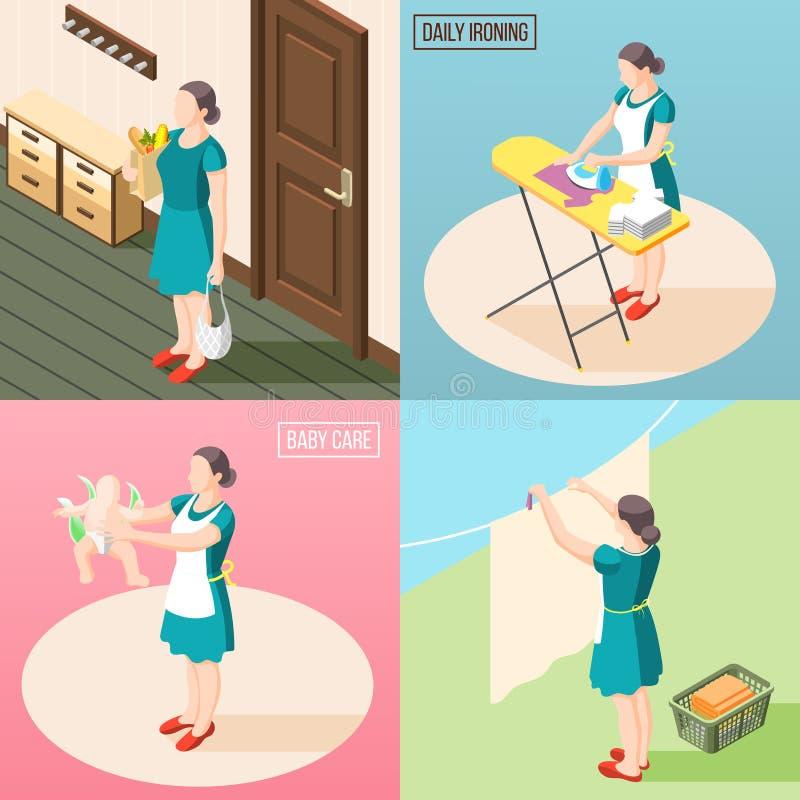 Conceito de projeto torturado da dona de casa 2x2 ilustração stock