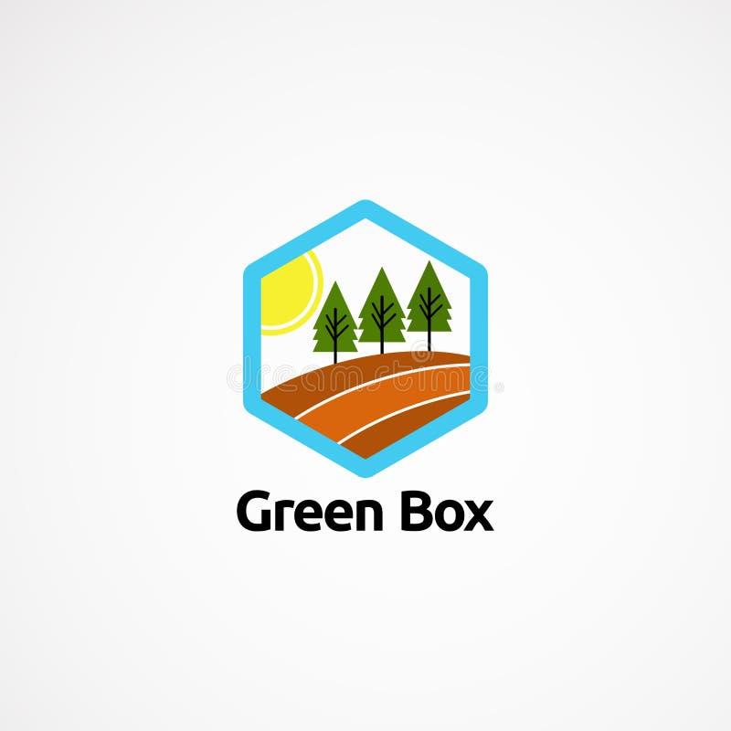 Conceito de projetos do logotipo da caixa, ícone, elemento, e molde verdes para a empresa ilustração royalty free