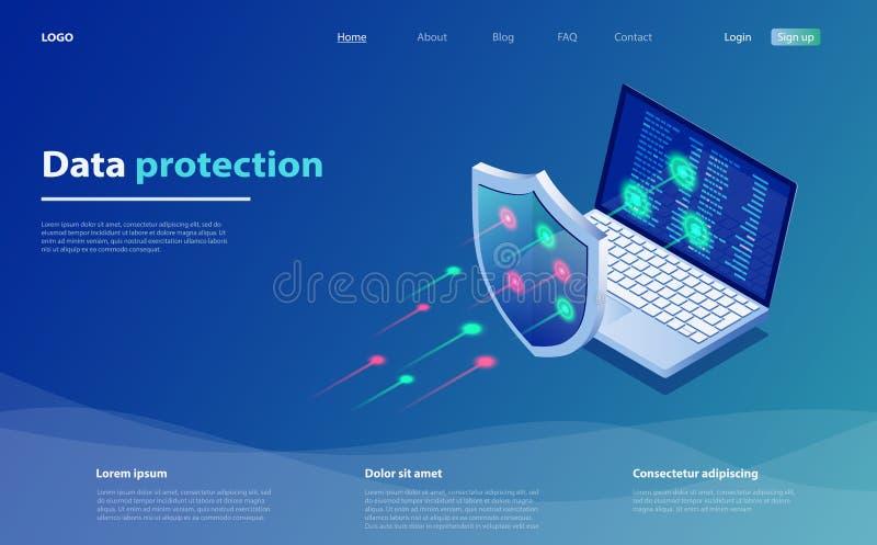 Conceito de proteção de dados Segurança de dados de rede Segurança, proteção confidencial de dados, conceito com código de gravaç ilustração do vetor