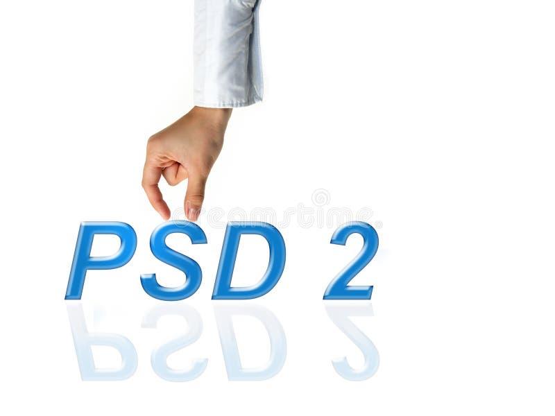 Conceito de PSD2 - o pagamento presta serviços de manutenção à diretriz orientadora fotos de stock