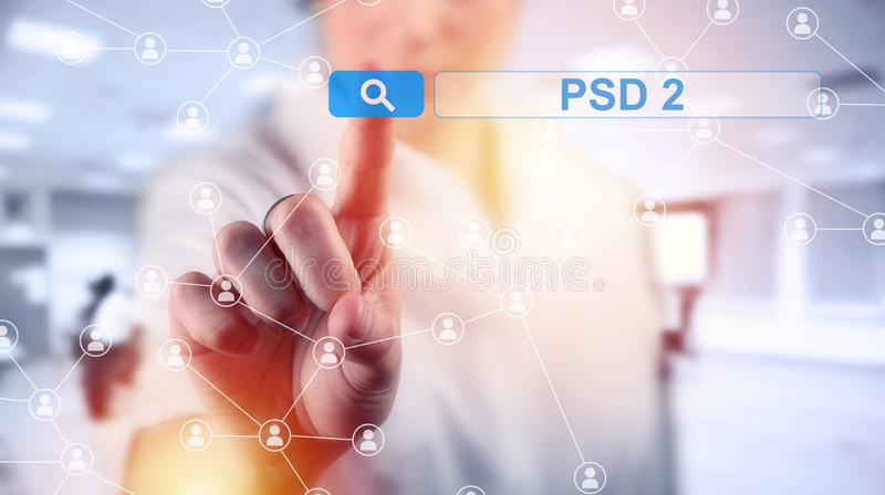 Conceito de PSD2 - o pagamento presta serviços de manutenção à diretriz orientadora foto de stock