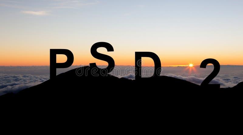 Conceito de PSD2 - o pagamento presta serviços de manutenção à diretriz orientadora imagem de stock