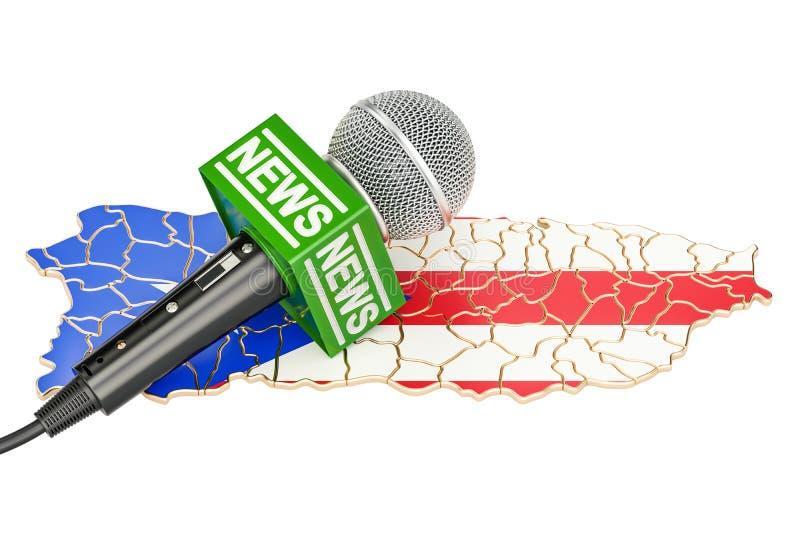 Conceito de Puerto Rico News, notícia do microfone no mapa renderi 3D ilustração royalty free