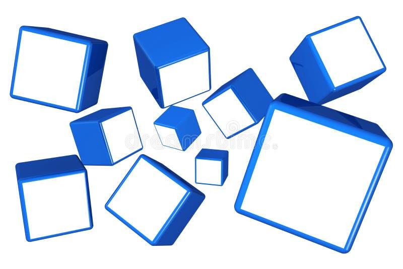Conceito de queda da galeria do frame da foto do cubo ilustração stock