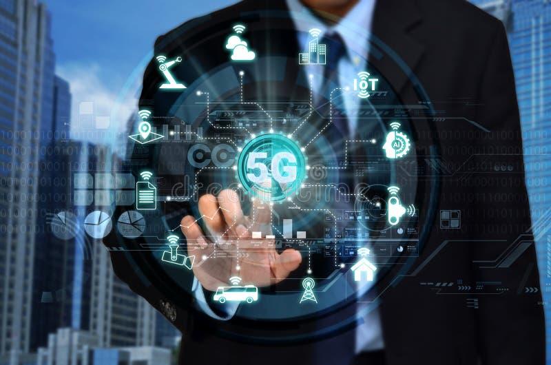 Conceito de rede de Internet 5G imagem de stock