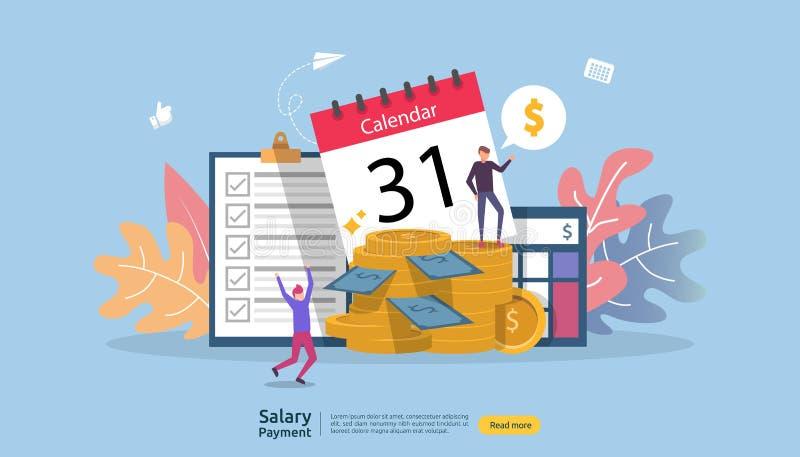 Conceito de renda da folha de pagamento bônus anual do pagamento do salário pagamento com papel, calculadora, e caráter dos povos ilustração royalty free