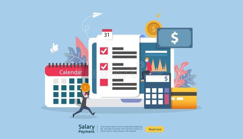Conceito de renda da folha de pagamento bônus anual do pagamento do salário pagamento com papel, calculadora, e caráter dos povos ilustração stock