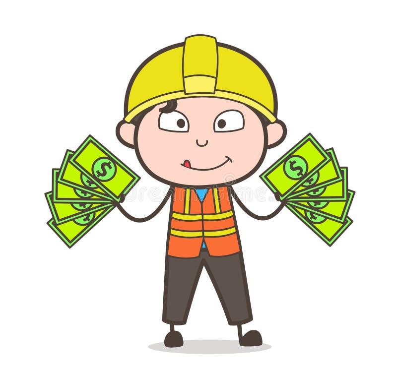 Conceito de renda extra - coordenador masculino Illustration dos desenhos animados bonitos ilustração do vetor