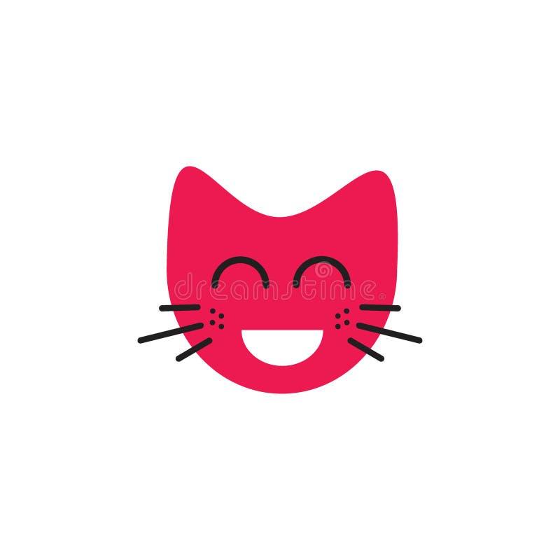 Conceito de riso do logotipo do emoticon do gato da cara ilustração royalty free