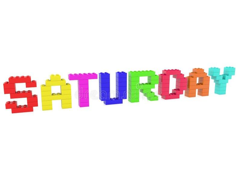 Conceito de sábado construído dos tijolos do brinquedo ilustração do vetor