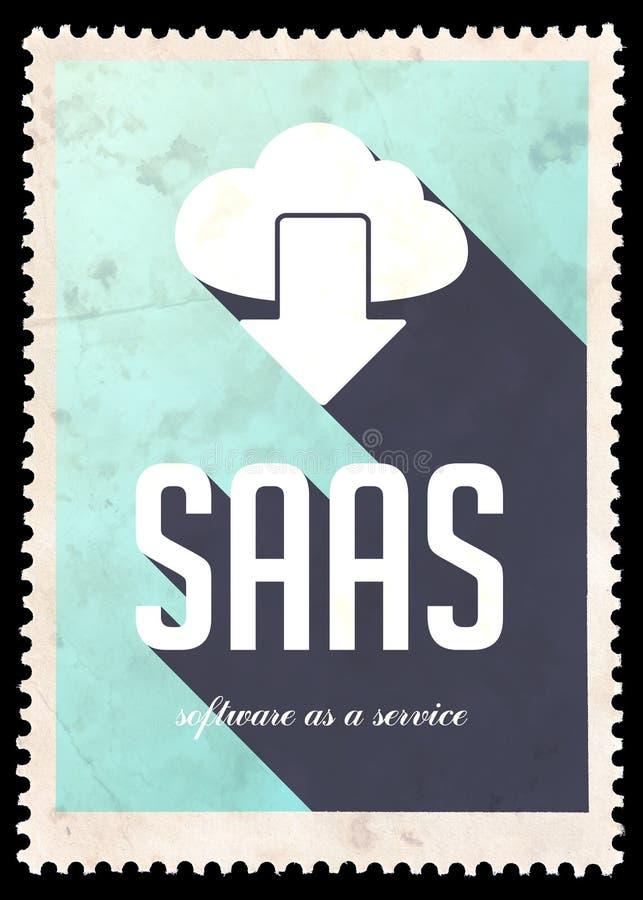 Conceito de SAAS na cor azul no projeto liso. ilustração royalty free