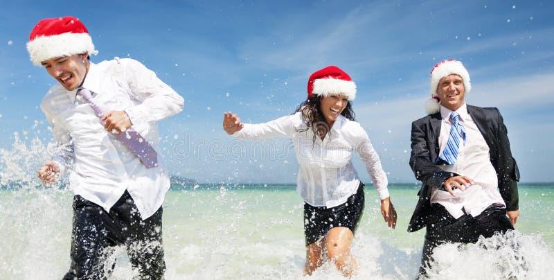 Conceito de Santa Hat Business Travel Vacations do Natal foto de stock royalty free