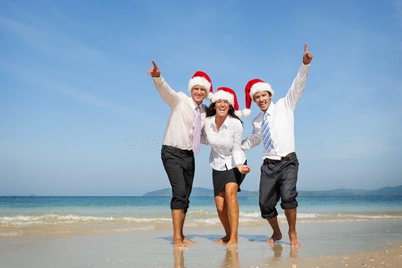 Conceito de Santa Hat Business Travel Vacations do Natal imagem de stock