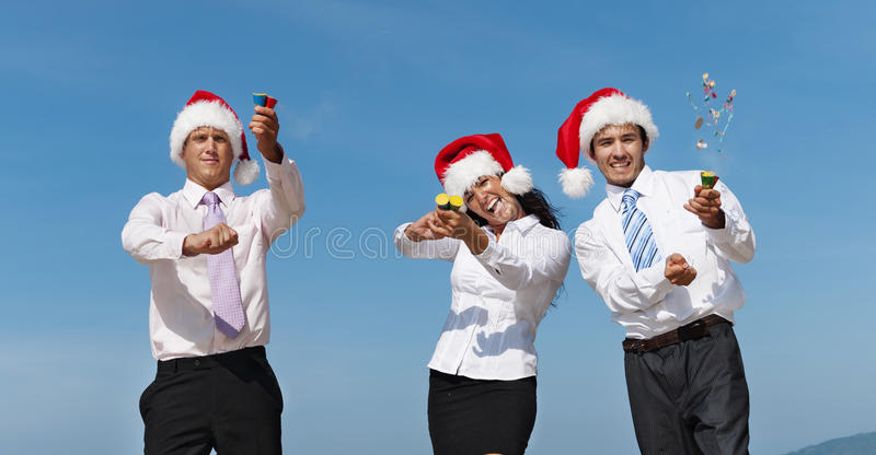 Conceito de Santa Hat Business Travel Vacations do Natal fotografia de stock royalty free