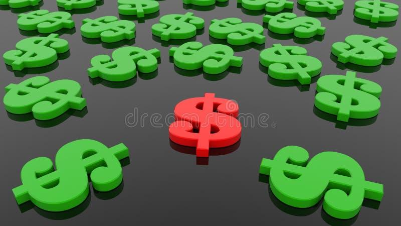 Conceito de sinais de dólar no verde e vermelho no preto ilustração stock
