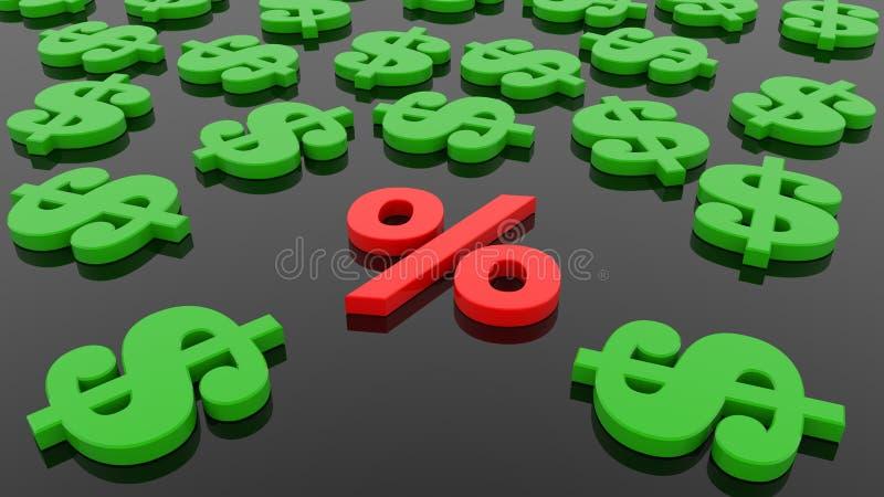 Conceito de sinais dos por cento e de dólar no preto ilustração royalty free