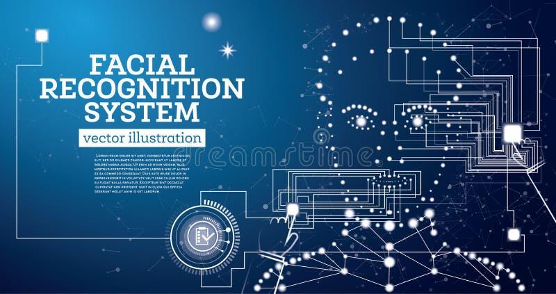 Conceito de sistema do reconhecimento facial com linhas de néon ilustração royalty free