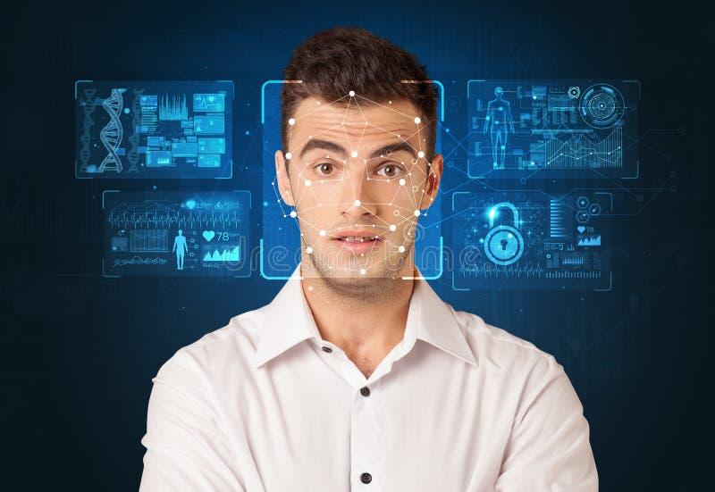 Conceito de sistema do reconhecimento facial imagens de stock royalty free