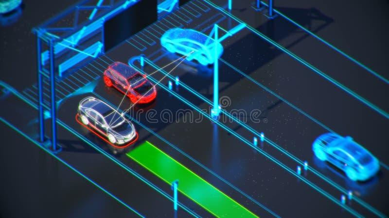 Conceito de sistema do transporte de Autonome, cidade esperta, Internet das coisas, veículo ao veículo, veículo à infraestrutura ilustração stock