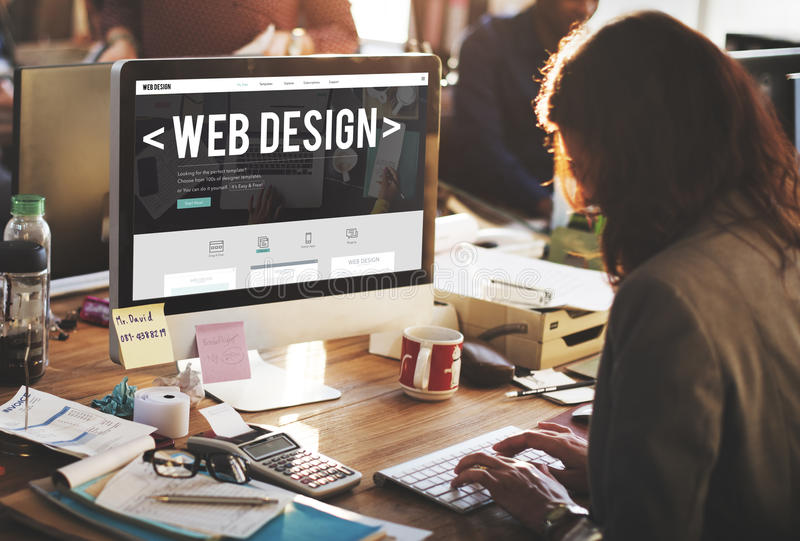 Conceito de software responsivo do Web site do Internet do design web imagem de stock
