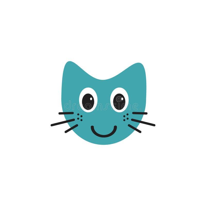 Conceito de sorriso bonito do logotipo da ilustração do emoticon do gato ilustração do vetor