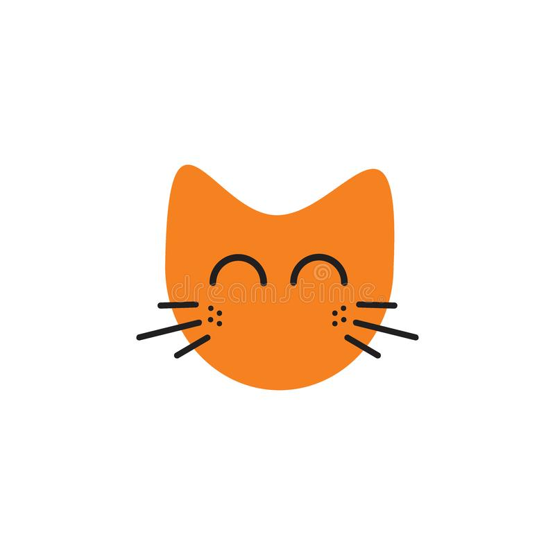 Conceito de sorriso do logotipo das ilustrações do gato da cara ilustração royalty free
