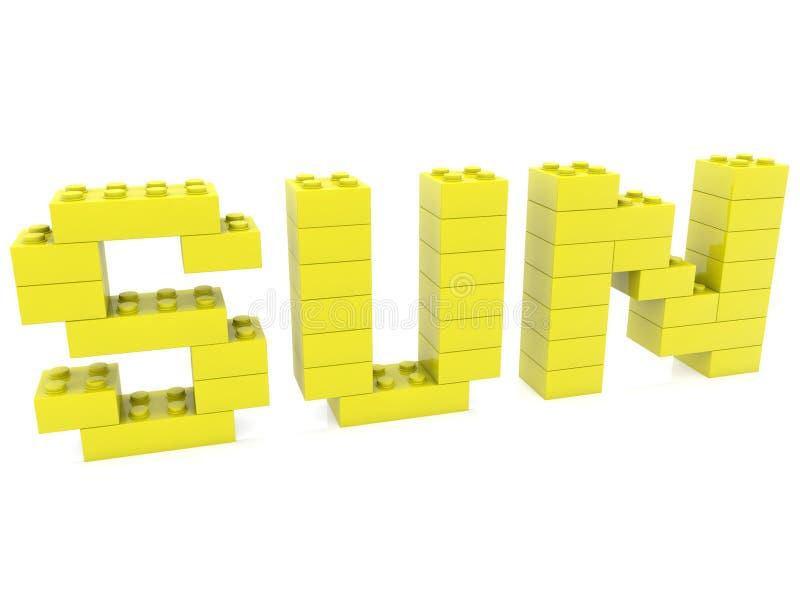Conceito de Sun construído dos tijolos do brinquedo ilustração royalty free
