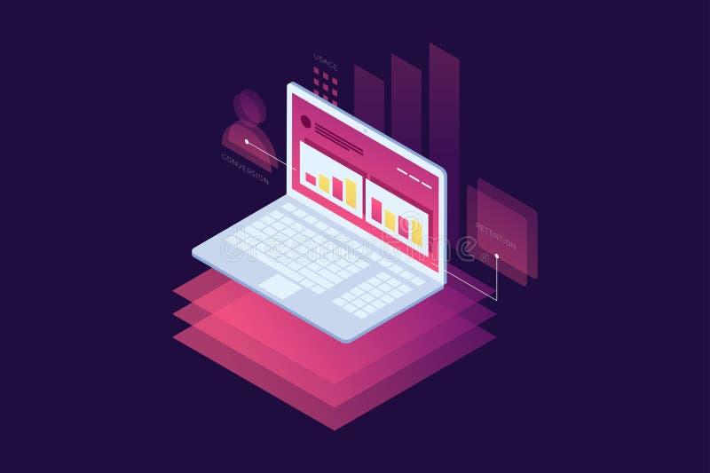 Conceito de técnicas do mercado Otimização do Web site e do Search Engine ilustração royalty free