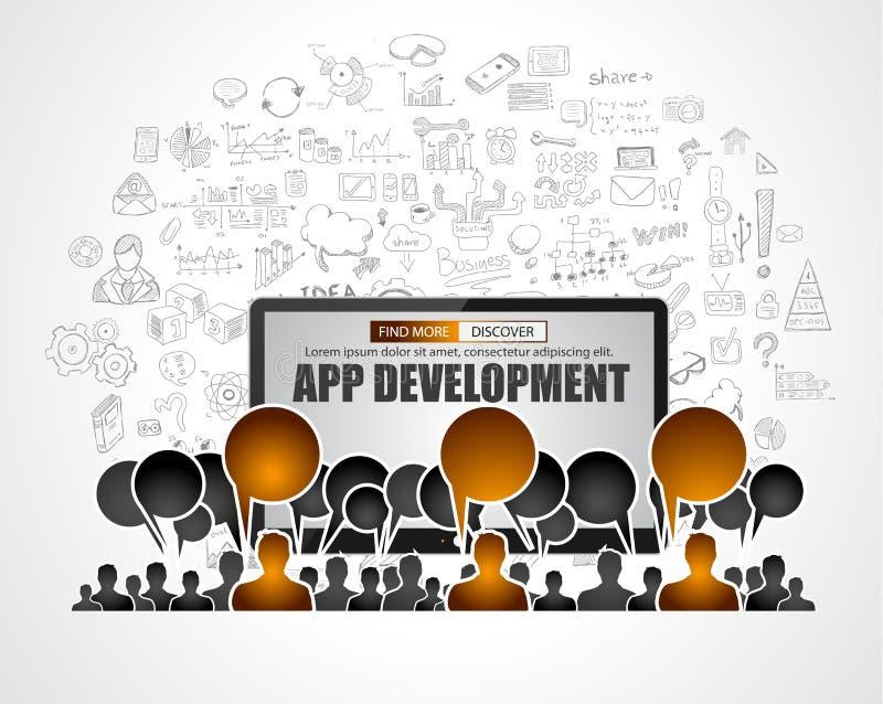 Conceito de Team App Development com estilo do projeto da garatuja do negócio: ilustração do vetor
