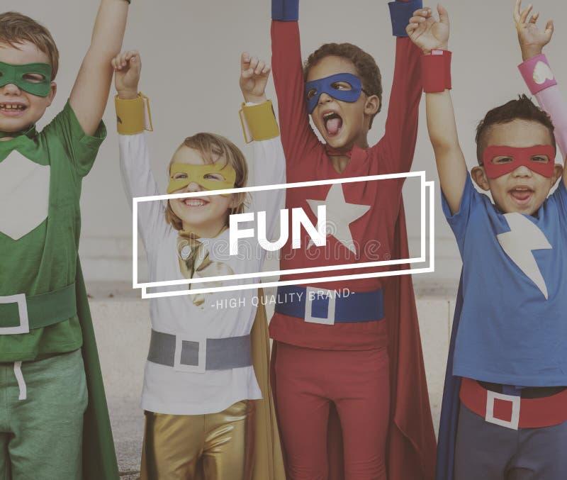 Conceito de Team Kids Heroes Aspiration Goals fotos de stock royalty free