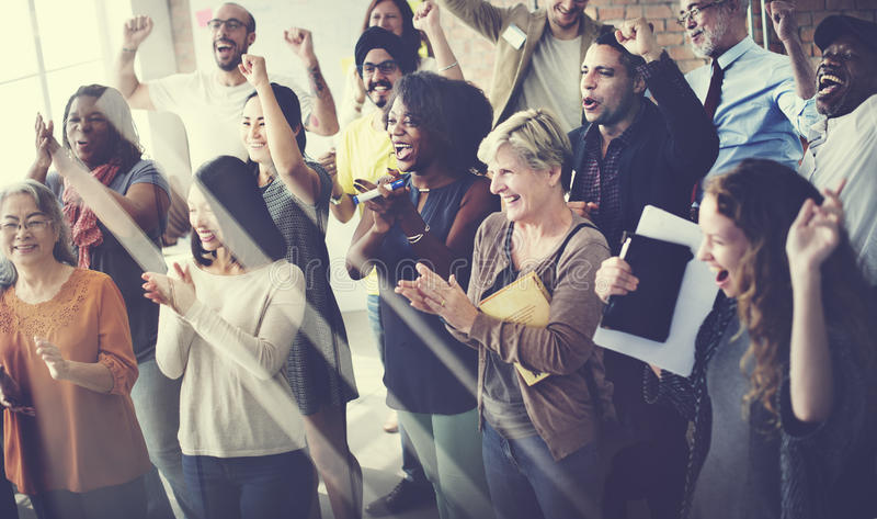 Conceito de Team Teamwork Meeting Success Happiness fotos de stock royalty free