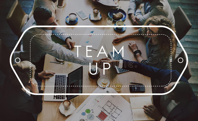 Conceito de Team Up Support Strategy United Alliance imagem de stock