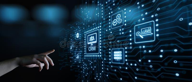 Conceito de Techology do Internet do negócio do gerenciamento de relacionamento com o cliente de CRM foto de stock