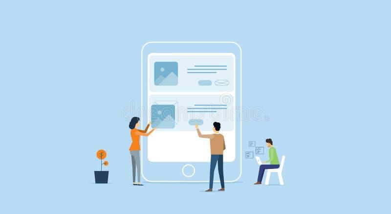 Conceito de trabalho da equipe móvel do colaborador de aplicação ilustração royalty free