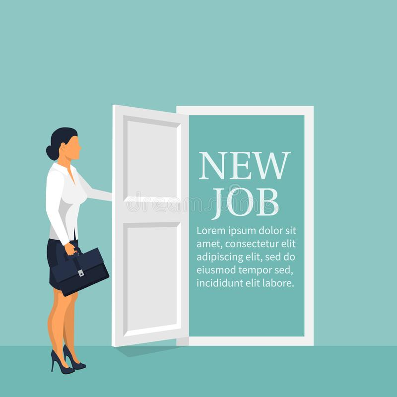 Conceito de trabalho novo A mulher abre a porta que procura o trabalho ilustração do vetor