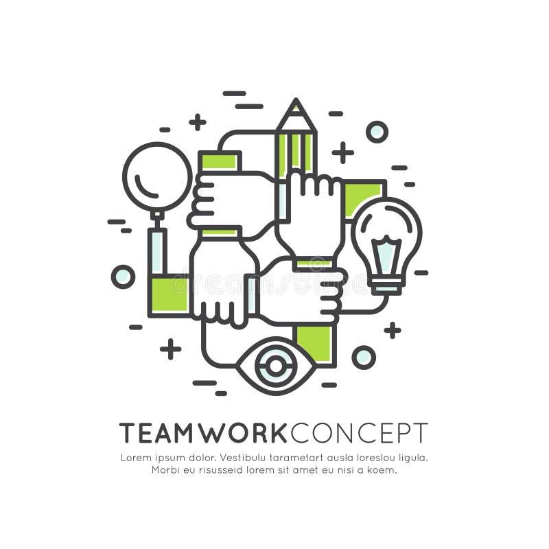 Conceito de trabalhos de equipa da cooperação, grupo, parceria ilustração royalty free