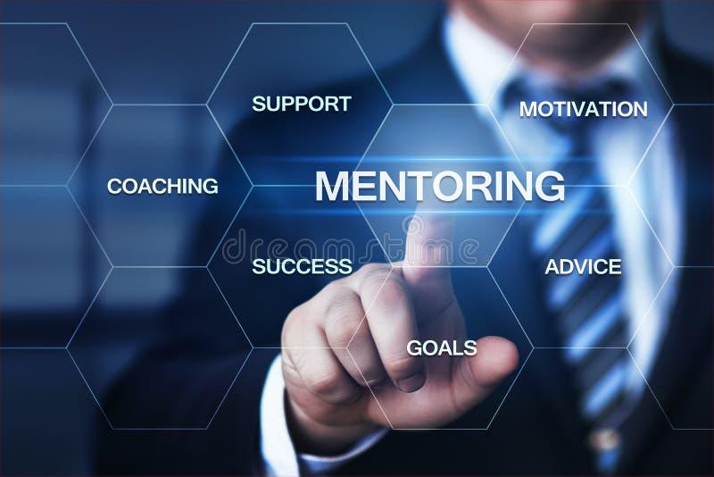 Conceito de treinamento da carreira do sucesso da motivação do negócio da tutoria foto de stock