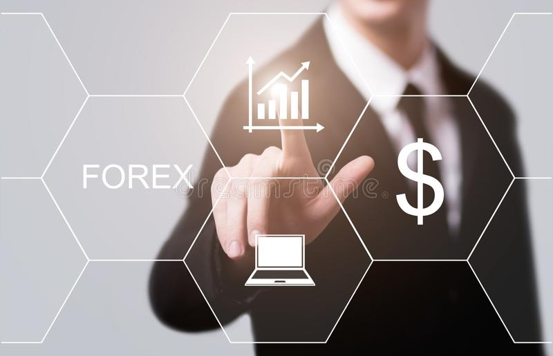 Conceito de troca do Internet do negócio de Currence da troca do investimento do mercado de valores de ação dos estrangeiros imagens de stock royalty free
