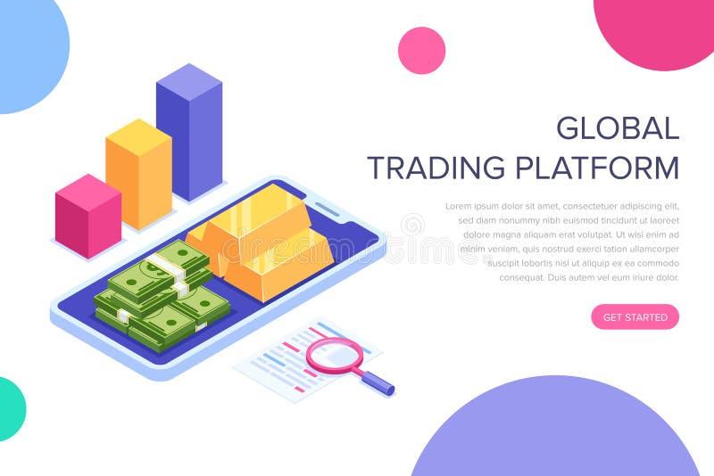 Conceito de troca global da plataforma ou da gestão financeira Pode usar-se para a bandeira da Web, infographics, imagens do heró ilustração royalty free