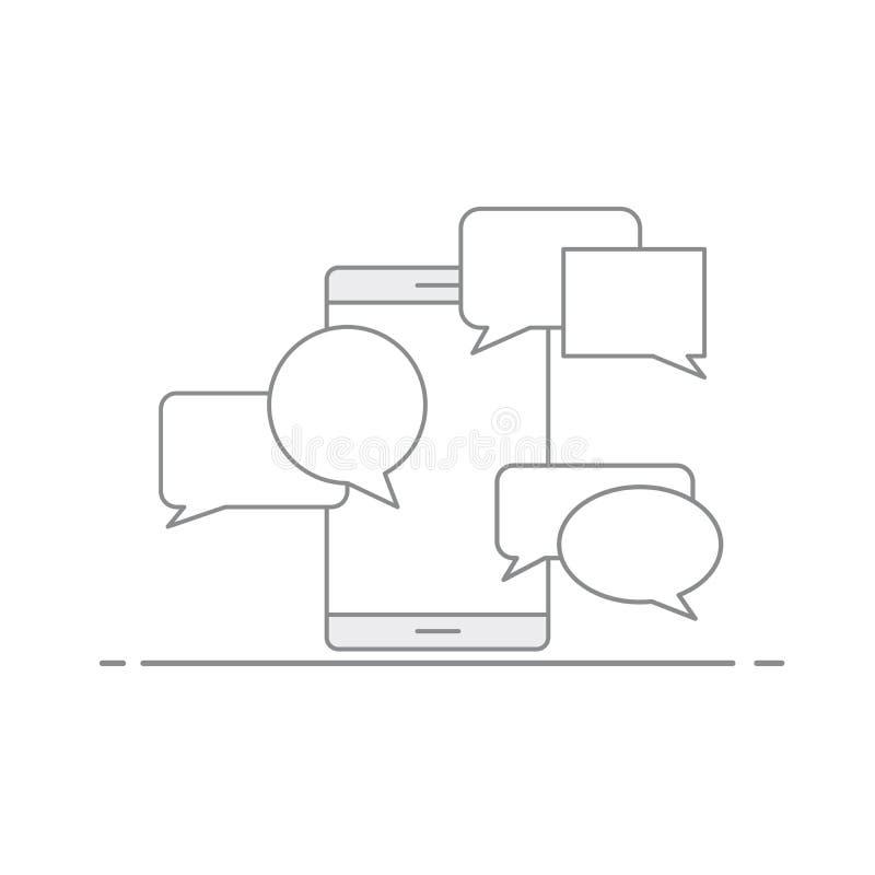Conceito de uma comunicação através de SMS e do email em um dispositivo móvel Bolha do discurso no fundo de seu telefone Vetor ilustração do vetor