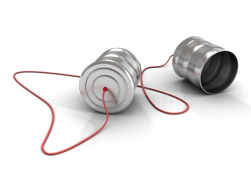 Conceito de uma comunicação com o telefone da lata de estanho no branco fotografia de stock