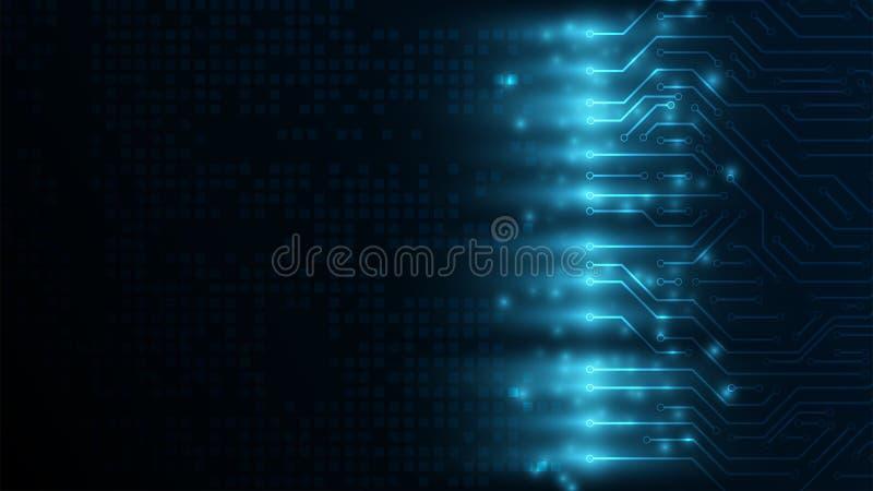 conceito de uma comunicação digital da Olá!-tecnologia no escuro - fundo azul FO inforgraphic Fundo digital abstrato ilustração do vetor