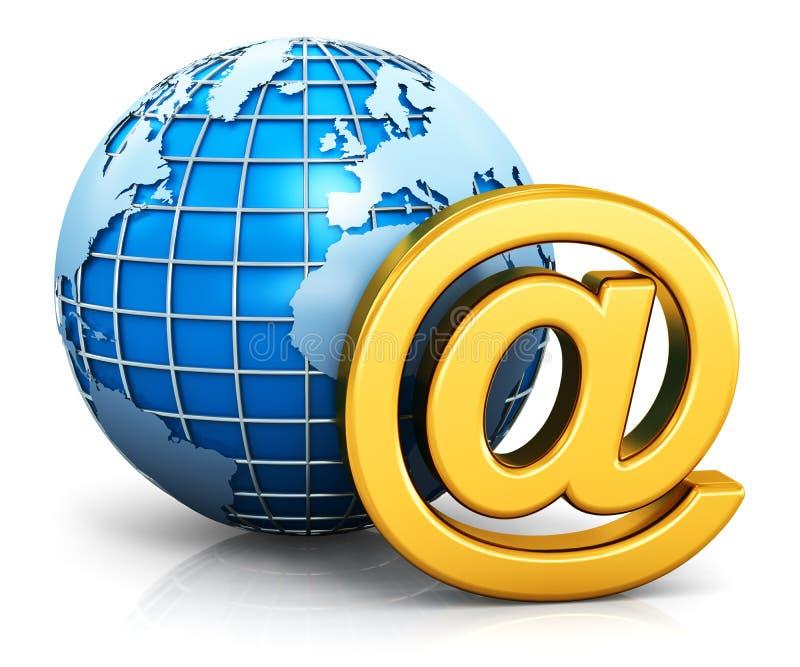Conceito de uma comunicação do email e do Internet ilustração do vetor