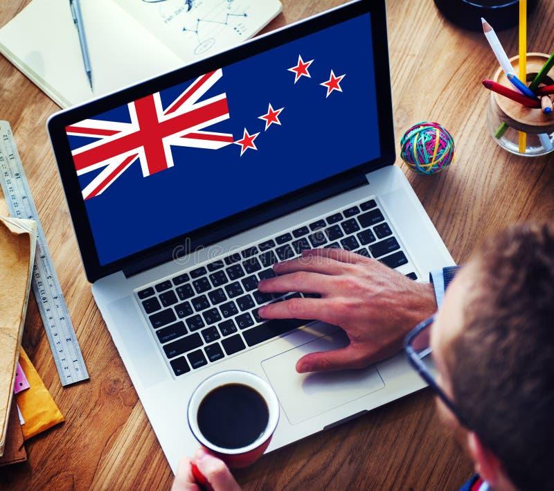 Conceito de uma comunicação empresarial da bandeira nacional de Nova Zelândia fotos de stock