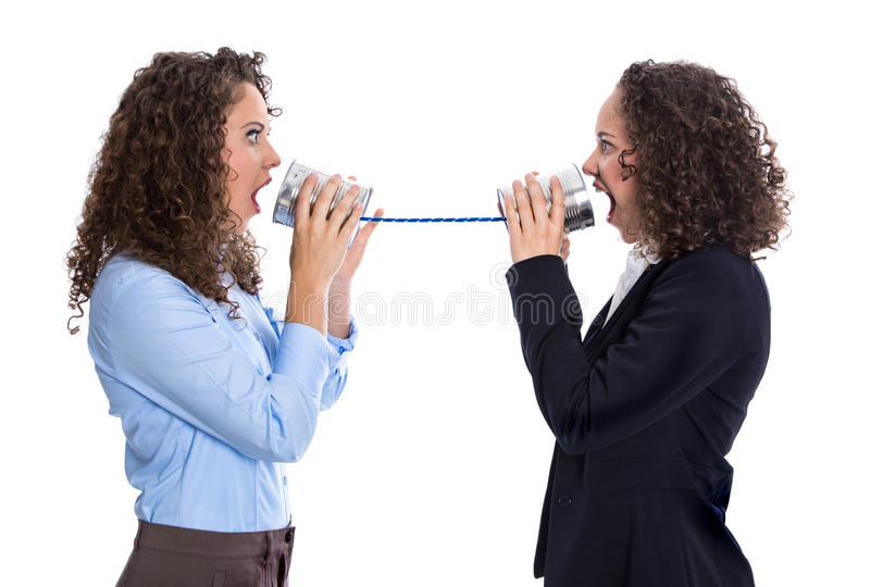Conceito de uma comunicação ou da bisbolhetice: mulher gritando que tem problemas imagens de stock royalty free